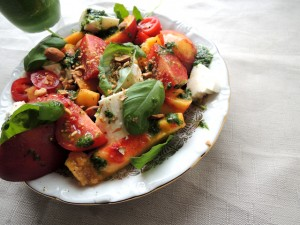 nectarinesalade met mozzarella