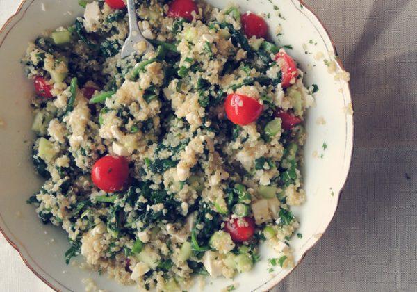 Quinoa met aubergine en spinazie (Met vegan optie)