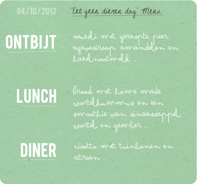 Vegan ontbijt, lunch en diner