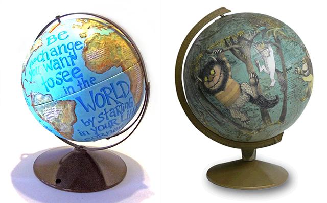 beschilderde wereldbollen
