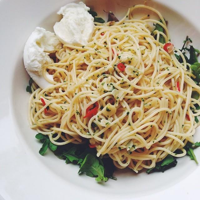 recept spaghetti met knoflook