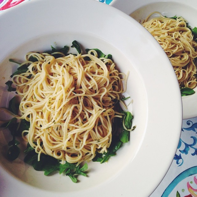 spaghetti met knoflookolie