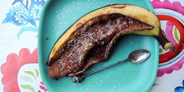 gegrilde banaan met chocolade
