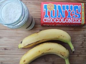 gegrilde banaan met chocolade ingredienten