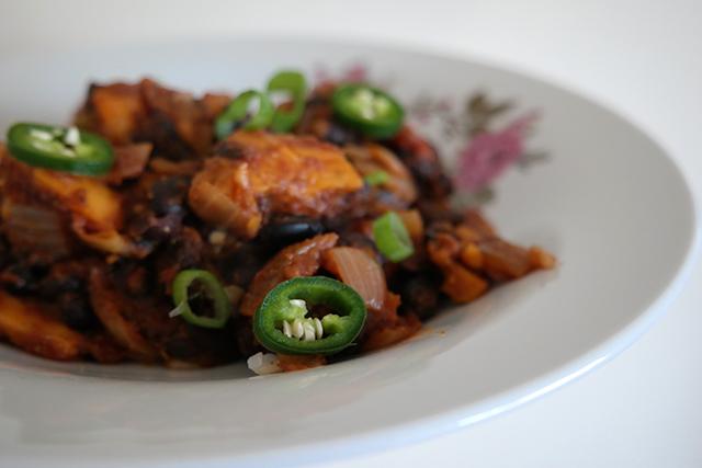 chili met zoete aardappel
