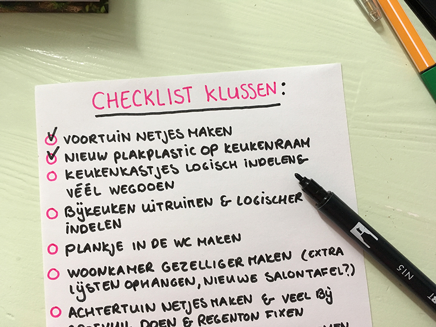 to do list met klussen in huis