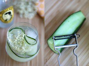 gin-tonic met vlierbloesem en komkommer