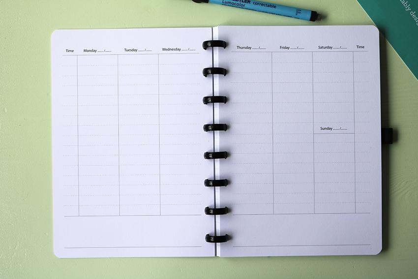 Uitwisbaar notitieboek met weekplanner