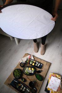 reflectiescherm gebruiken bij het maken van eetfoto's