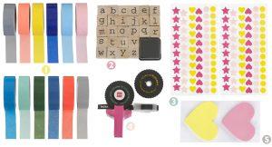 stickers en washi tape voor self care journal